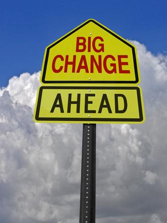 嵐の上空で大きな変化先の概念警告サイン 写真素材