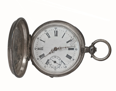 watch over: vintage silver pocket watch over white Stock Photo