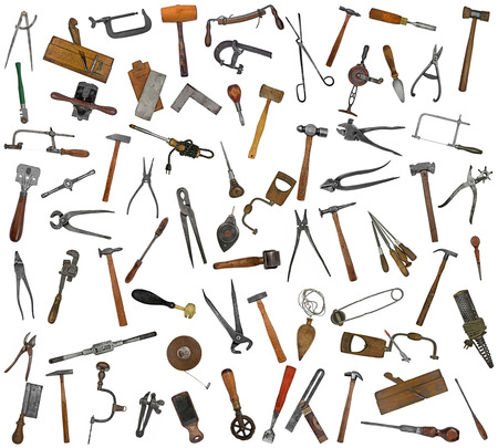 vintage collectible tools mix collage over white background photo