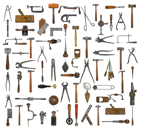 vintage collectible tools collage over white background photo