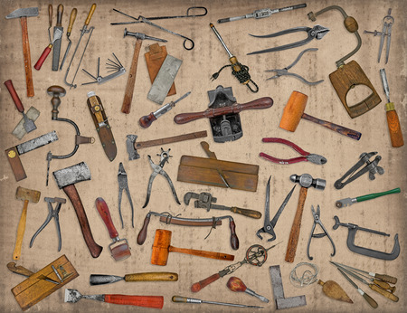 vintage collectible tools mix collage over old stain paper  Imagens