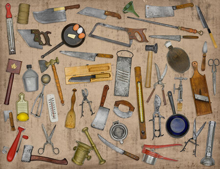 vintage kitchen utensils collage over old paper photo