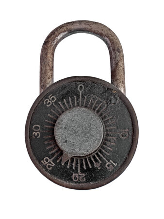 vintage dial lock over white photo