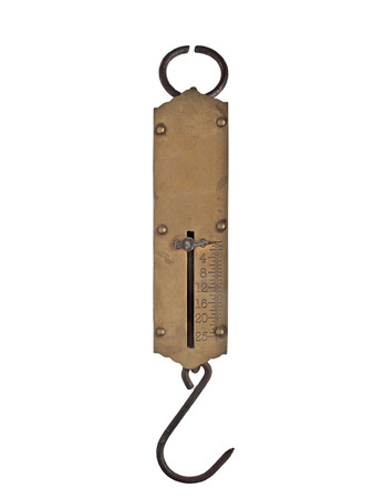 vintage portable brass spring weighing scale isolated over white