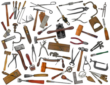 collectible: vintage collectible tools mix collage over white