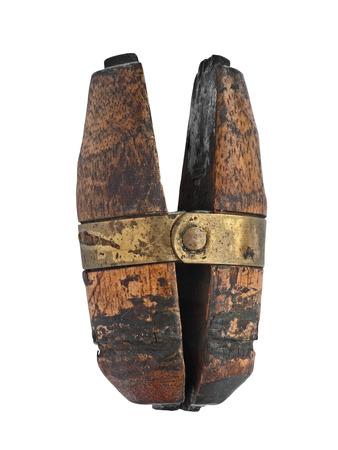 vintage jeweler wooden vise holder over white Imagens