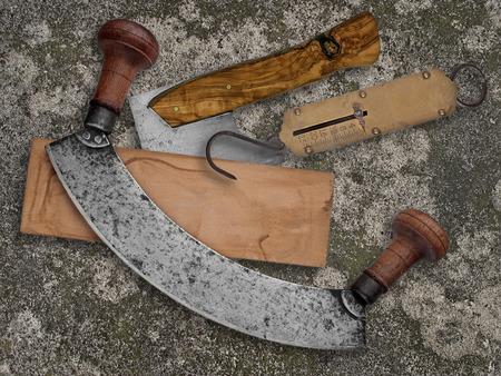 old items: vintage kitchen utensils collage over old concrete background