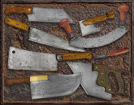 paring knife: vintage kitchen utensils collage over rusty plate
