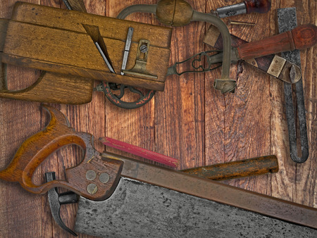 vintage woodworking tools on wooden bench, space for your text Stock Photo