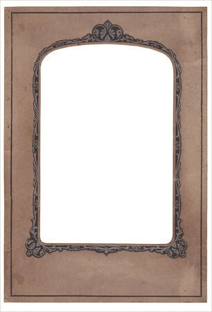 vintage stained old art deco studio photo frame, clipping path photo