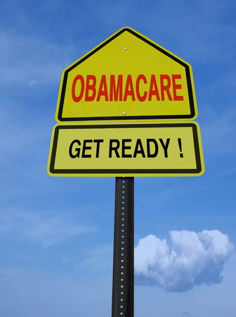 obama care: obamacare get ready conceptual directional post over blue sky