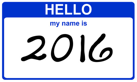 hello my name is: hello my name is 2016 blue sticker