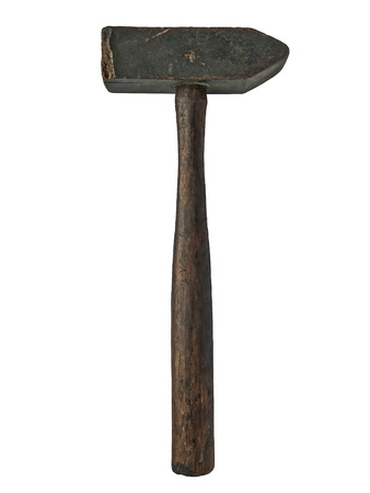 vintage wooden hammer isolated over white background