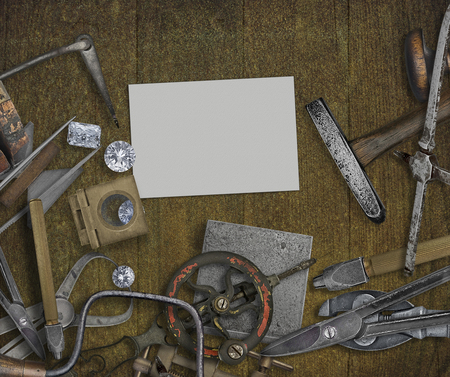 vintage jeweler tools and diamonds over wooden bench, space for text on business card Reklamní fotografie