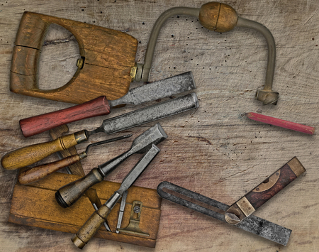 tenon: vintage woodworking  tools over wooden bench, space  for your text