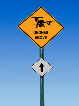 big brother spy: conceptual sign with drone symbol and  warning above over blue sky