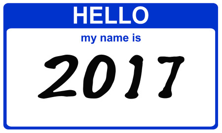 hello my name is: hello my name is 2017 blue sticker
