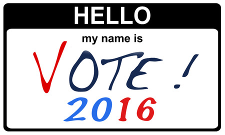 hello my name is: black sticker hello my name is vote 2016 concept, 2D rendering Stock Photo