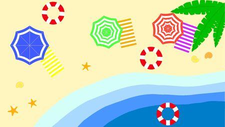 Beach umbrella set. Top view, striped design. Isolated for all backgrounds.summer beach umbrellas sea