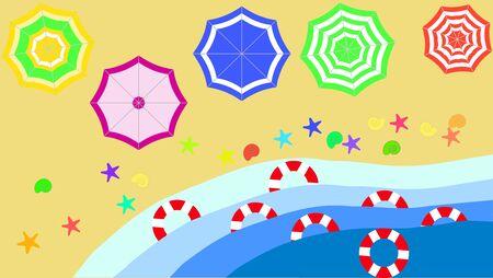 Top view beach background with umbrellas,balls,swim ring,sunglasses,surfboard, hat,sandals,juice