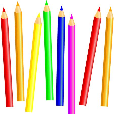 Crayons - colored pencil set loosely arranged - vector on white background pencils