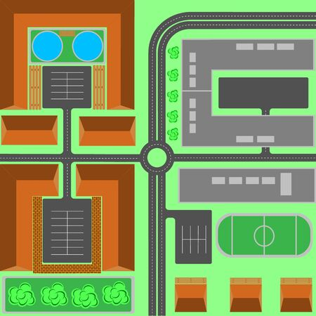 Seamless repeating background urban pattern. Top view of the city quarter with streets, houses, trees, town landscape