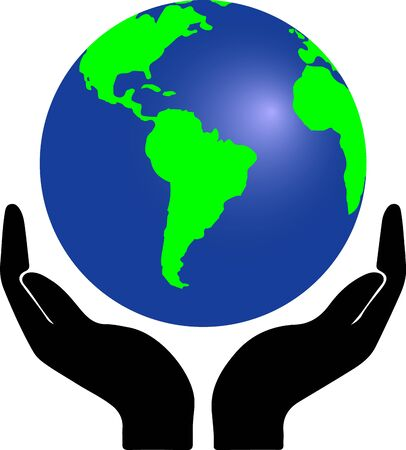 hands holding globe earth web black icon. save earth concept vector