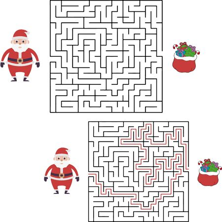Christmas maze game for preschool and school kids. Santa is looking for gifts. Cartoon vector