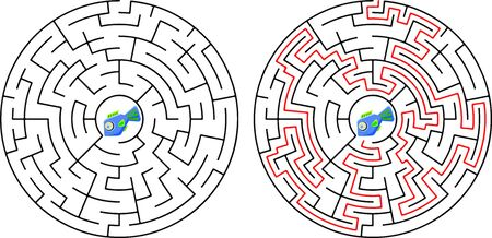 Black round maze. Game for kids. Children s puzzle. Many entrances, one exit. Labyrinth conundrum. Simple flat vector illustration isolated on white background. Ilustração