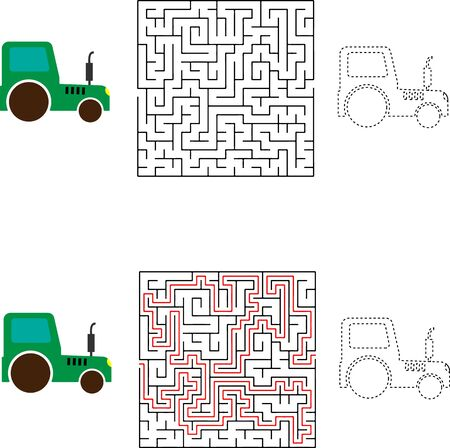 Vector Maze game way for delivery the box to funny truck Vectores