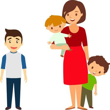 Mère de nombreux enfants avec une fille et deux garçons. Illustration vectorielle d'un design plat Vecteurs