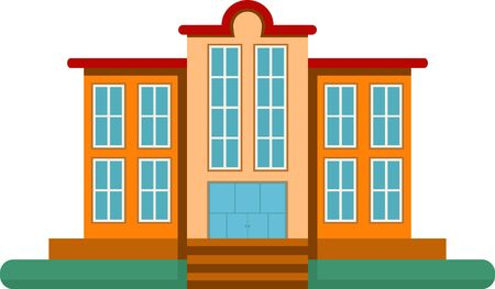 Cartoon school building. Series of the cartoon buildings in vector.