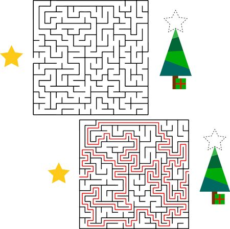 Maze game or activity page for kids Help Santa to find the way to his sack with gifts for children.