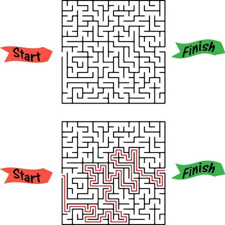 Maze game Pick fruits box worksheet for education Illustration