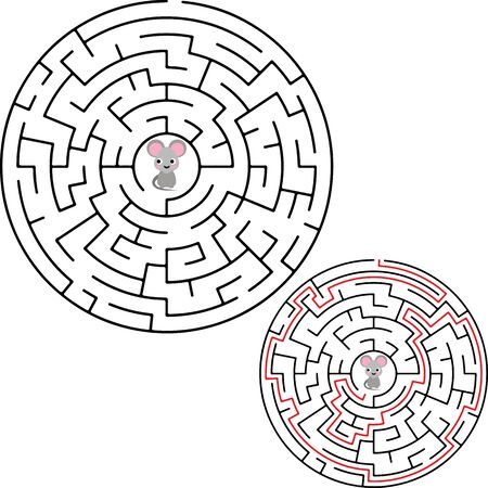 Labyrinth, maze conundrum for kids. Entry and exit. Children puzzle game. Vector illustration.