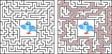Maze game or activity page for kids Help every bird to get back to the birdhouse village. Answer included. For EPS format see image Illustration