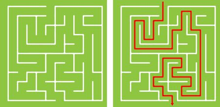 Vector Maze templates. Circle and square labyrinth
