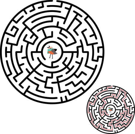 Black circle vector maze isolated on white background. Black labyrinth with one right way. Vector maze icon. Labyrinth symbol.