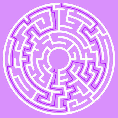 Circular maze with way from center to exit on violet