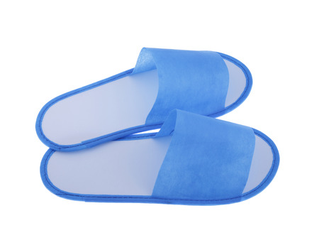 Disposable slippers for hotels and spa isolated on white