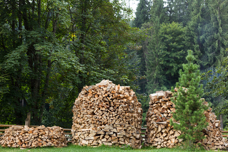 home heating: Chopped firewood for home heating in the Carpathians. Ukraine.