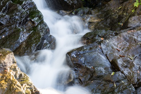 rages: River is flowing down through rocks. Small waterfall in the mountains.