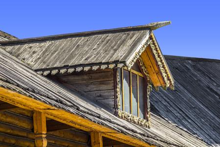 skylights: skylights wooden house Stock Photo