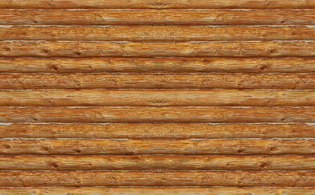 Wooden log wall. Banque d'images