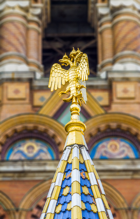 the liberator: ST PETERSBURG, RUSSIA - JULY 28, 2015: Church of the Savior on Spilled Blood Cathedral of Resurrection. It is an architectural landmark of city and a unique monument to Alexander II the Liberator. Detail of the Church of the savior on spilled blood or Cat Editorial