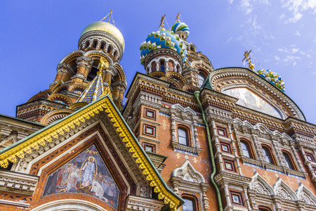church building: ST PETERSBURG, RUSSIA - JULY 28, 2015: Church of the Savior on Spilled Blood Cathedral of Resurrection. It is an architectural landmark of city and a unique monument to Alexander II the Liberator.