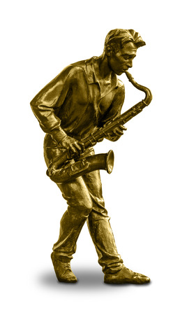 arts culture and entertainment: A bronze statue of a musician