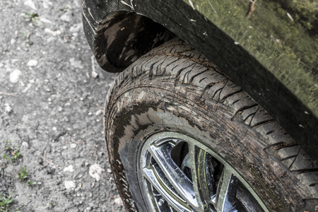 dirty car: Dirty car wheel