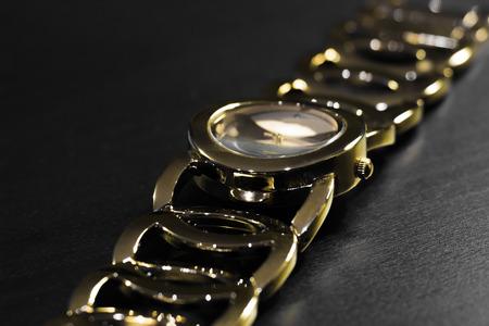 wristwatch: Golden wristwatch with bracelet