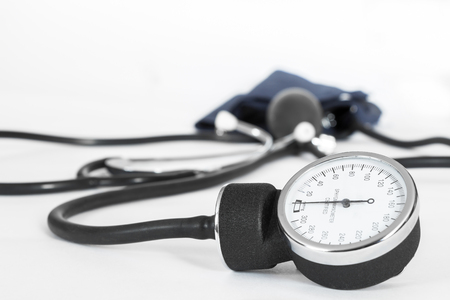 blood pressure bulb: Blood pressure meter Stock Photo